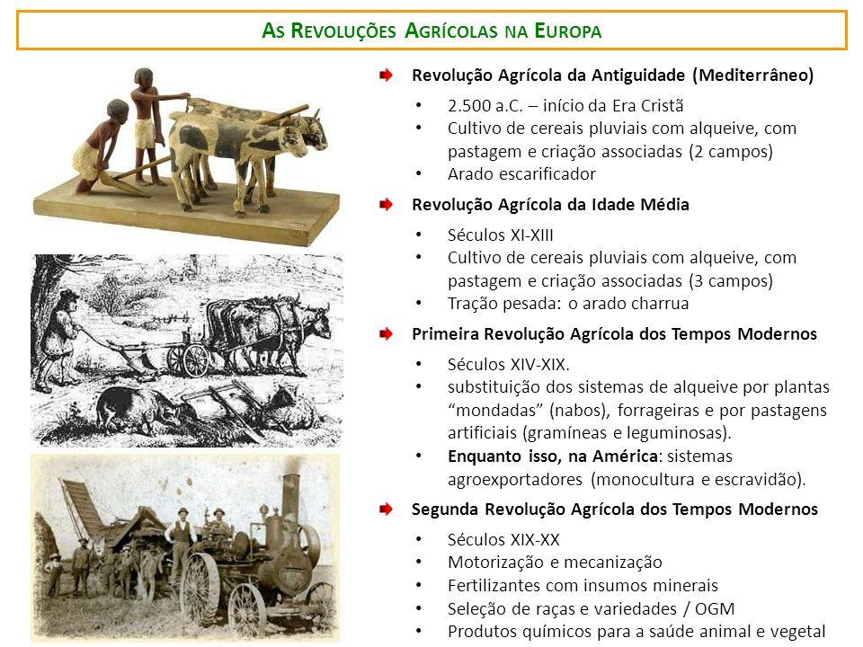 A S R EVOLUÇÕES A GRÍCOLAS NA E UROPA Revolução Agrícola da Antiguidade (Mediterrâneo) 2.500 a.C. – início da Era Cristã Cultivo de cereais pluviais c