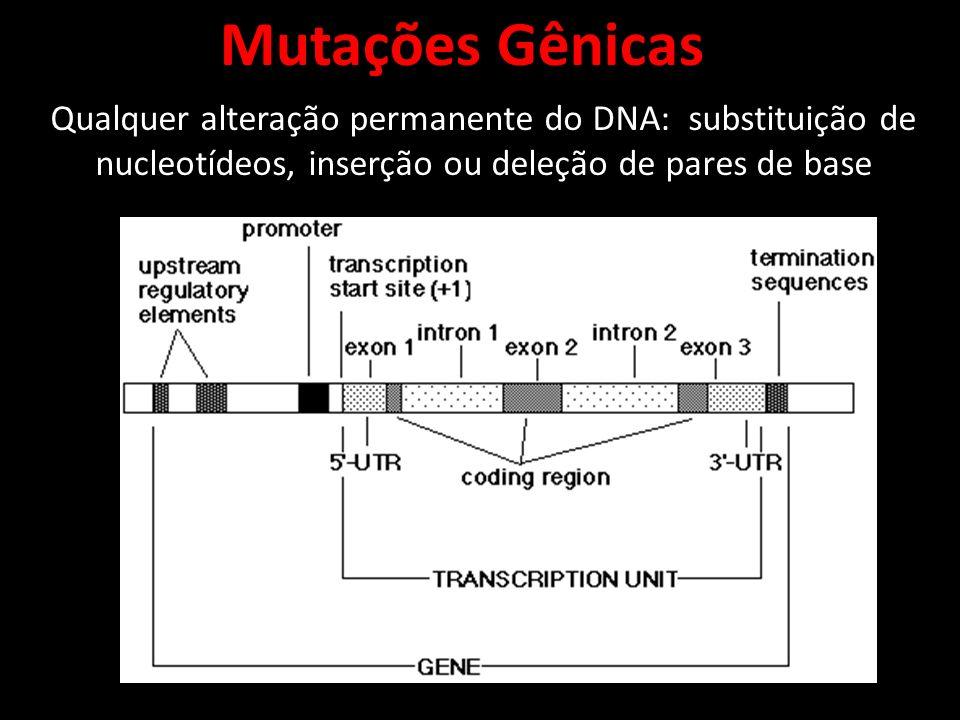 Qualquer alteração permanente do DNA: substituição de nucleotídeos, inserção ou deleção de pares de base Mutações Gênicas