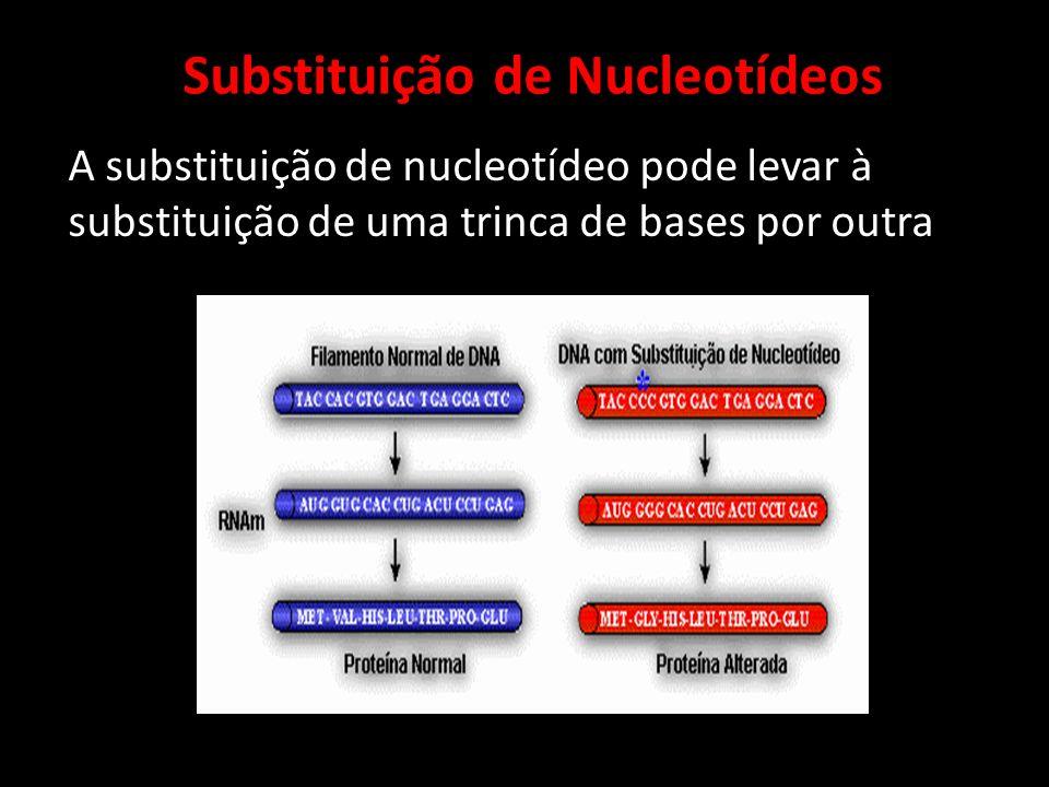 A substituição de nucleotídeo pode levar à substituição de uma trinca de bases por outra Substituição de Nucleotídeos
