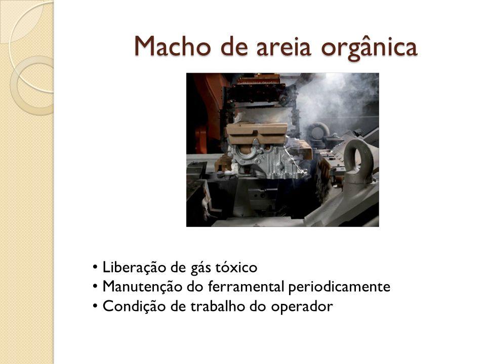 Macho de areia orgânica Liberação de gás tóxico Manutenção do ferramental periodicamente Condição de trabalho do operador