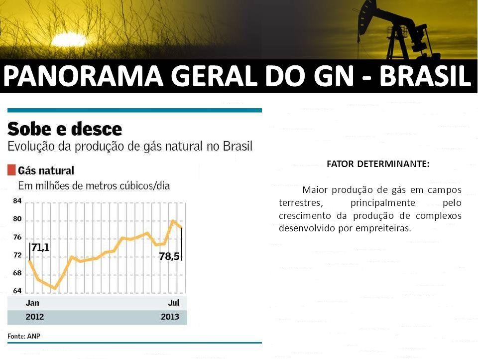 FATOR DETERMINANTE: Maior produção de gás em campos terrestres, principalmente pelo crescimento da produção de complexos desenvolvido por empreiteiras