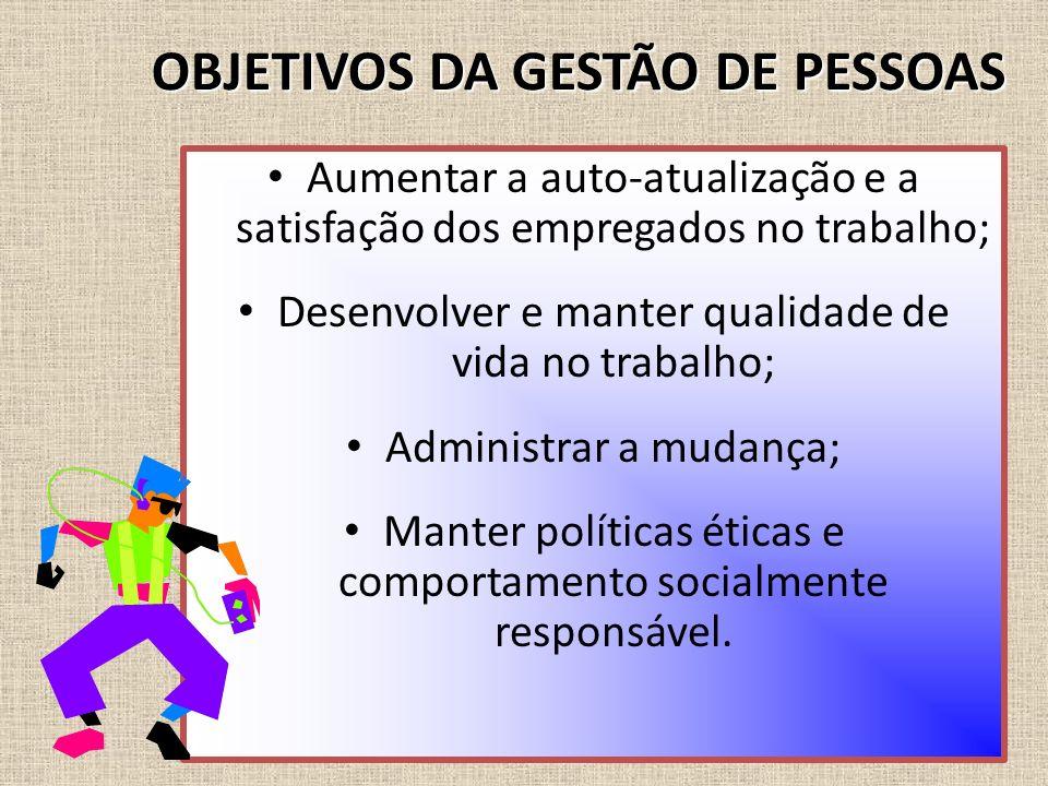 OBJETIVOS DA GESTÃO DE PESSOAS Aumentar a auto-atualização e a satisfação dos empregados no trabalho; Desenvolver e manter qualidade de vida no trabal