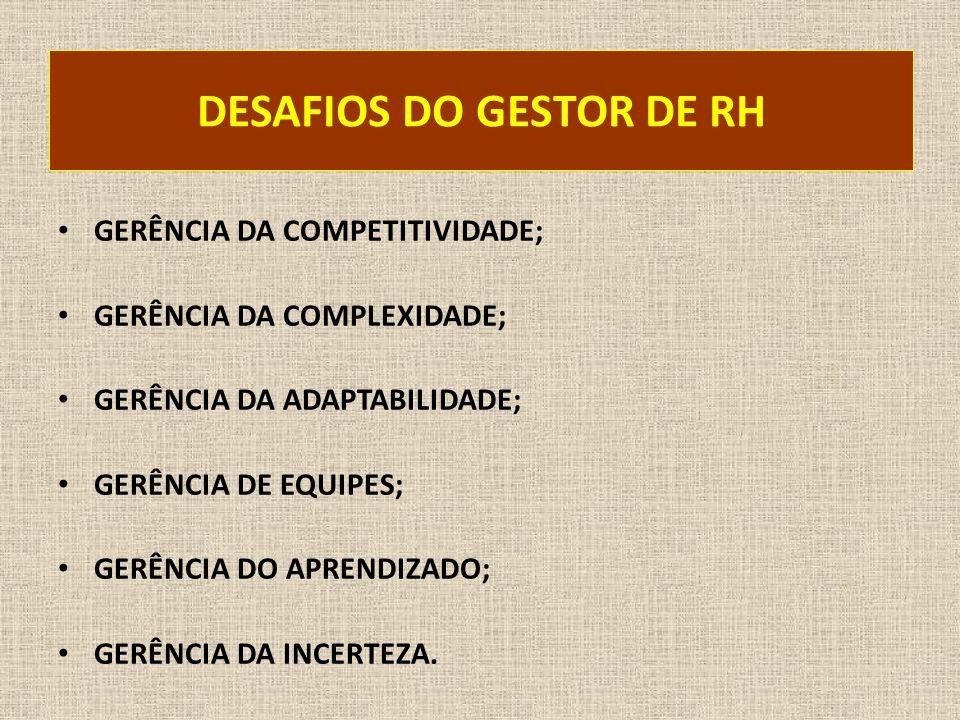 DESAFIOS DO GESTOR DE RH GERÊNCIA DA COMPETITIVIDADE; GERÊNCIA DA COMPLEXIDADE; GERÊNCIA DA ADAPTABILIDADE; GERÊNCIA DE EQUIPES; GERÊNCIA DO APRENDIZA