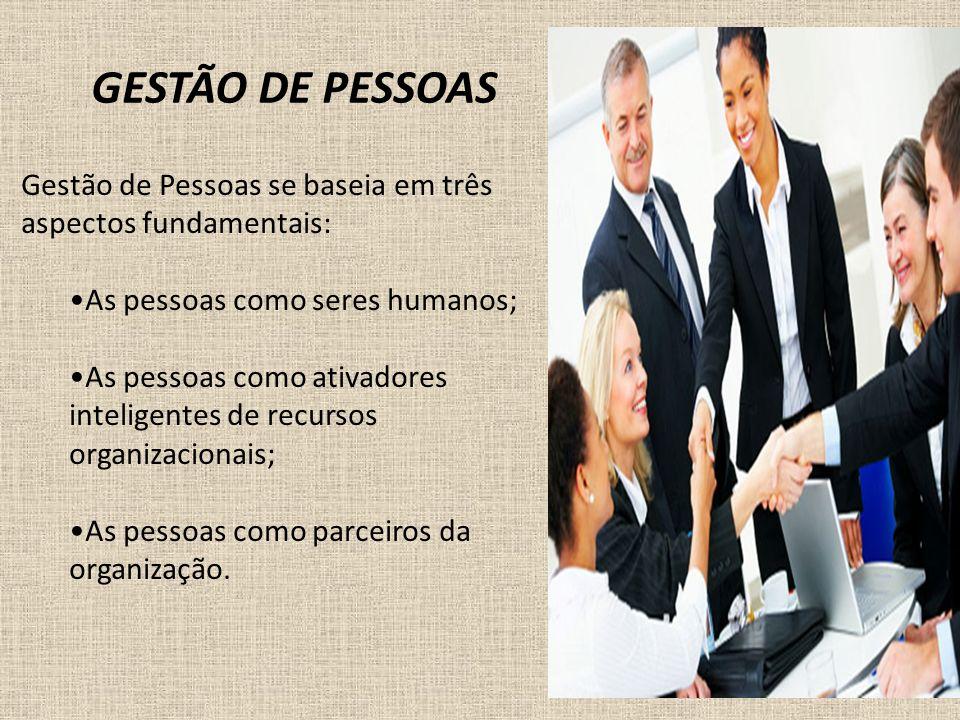 GESTÃO DE PESSOAS Gestão de Pessoas se baseia em três aspectos fundamentais: As pessoas como seres humanos; As pessoas como ativadores inteligentes de