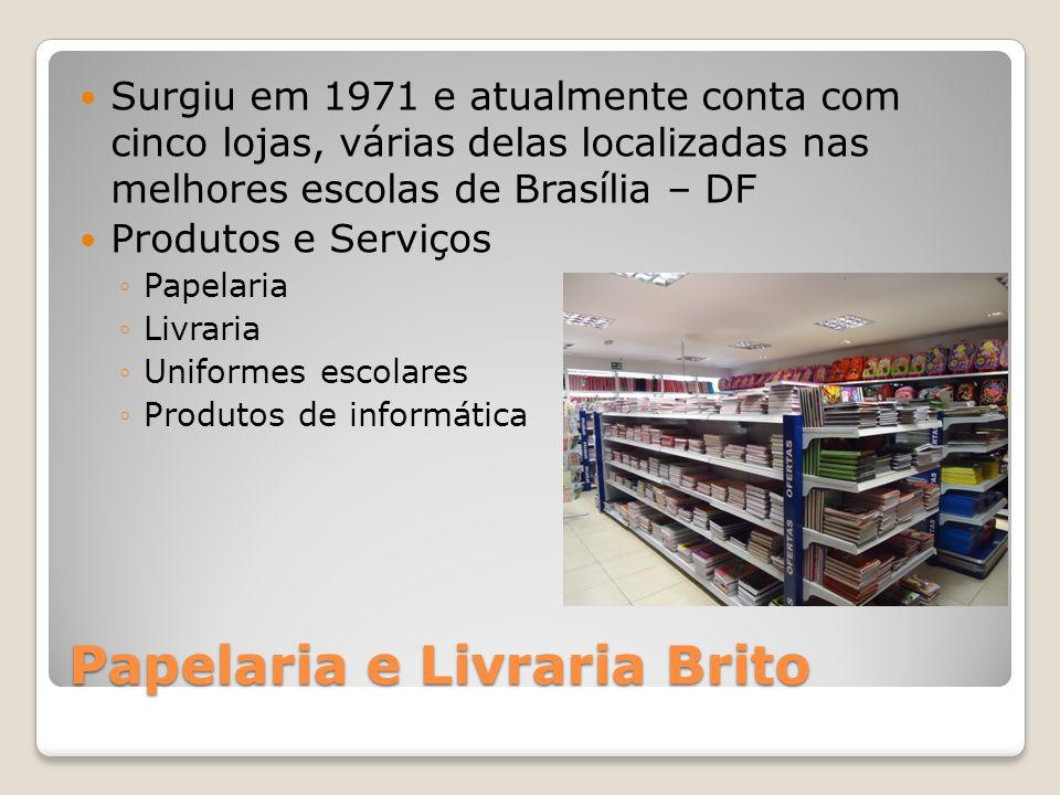 Papelaria e Livraria Brito Surgiu em 1971 e atualmente conta com cinco lojas, várias delas localizadas nas melhores escolas de Brasília – DF Produtos