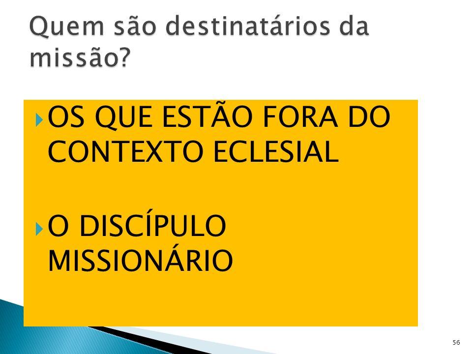 OS QUE ESTÃO FORA DO CONTEXTO ECLESIAL O DISCÍPULO MISSIONÁRIO 56