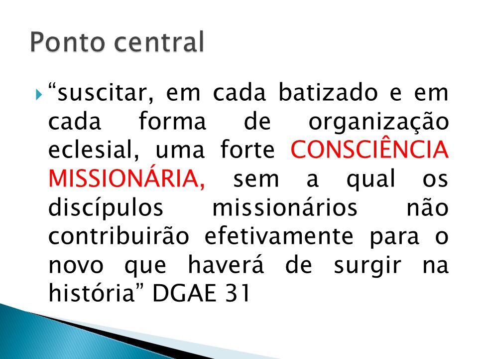 suscitar, em cada batizado e em cada forma de organização eclesial, uma forte CONSCIÊNCIA MISSIONÁRIA, sem a qual os discípulos missionários não contr