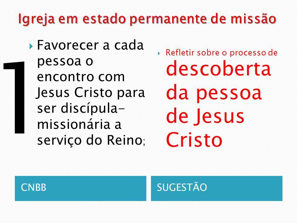 CNBBSUGESTÃO Favorecer a cada pessoa o encontro com Jesus Cristo para ser discípula- missionária a serviço do Reino ; Refletir sobre o processo de des