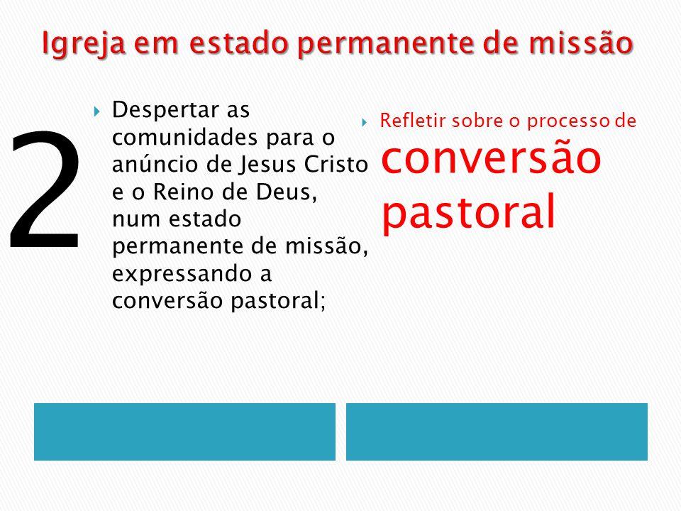 Despertar as comunidades para o anúncio de Jesus Cristo e o Reino de Deus, num estado permanente de missão, expressando a conversão pastoral; Refletir