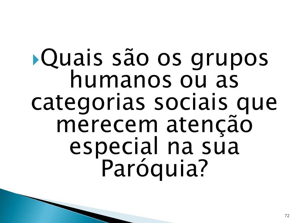 Quais são os grupos humanos ou as categorias sociais que merecem atenção especial na sua Paróquia? 72