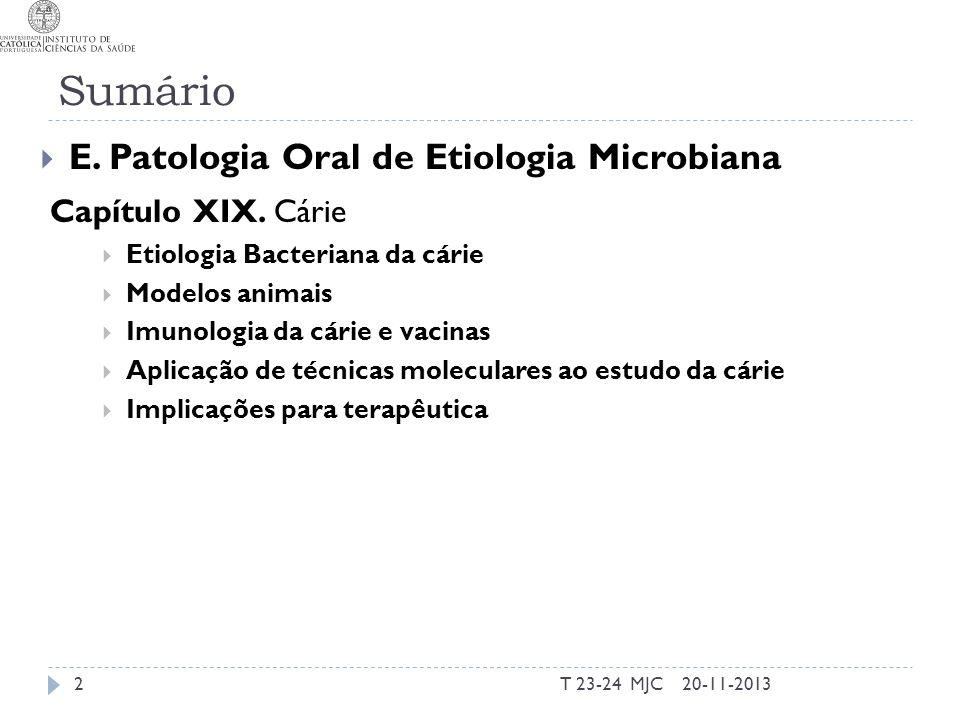 Sumário T 23-24 MJC2 E. Patologia Oral de Etiologia Microbiana Capítulo XIX. Cárie Etiologia Bacteriana da cárie Modelos animais Imunologia da cárie e