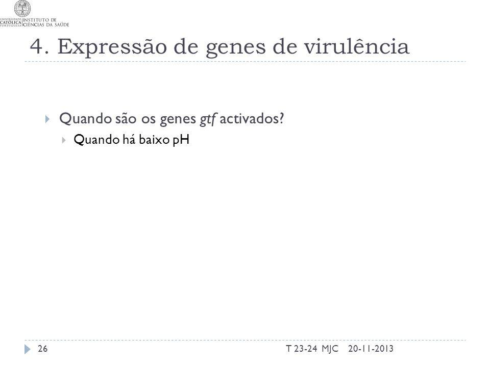 4. Expressão de genes de virulência Quando são os genes gtf activados? Quando há baixo pH 20-11-201326T 23-24 MJC
