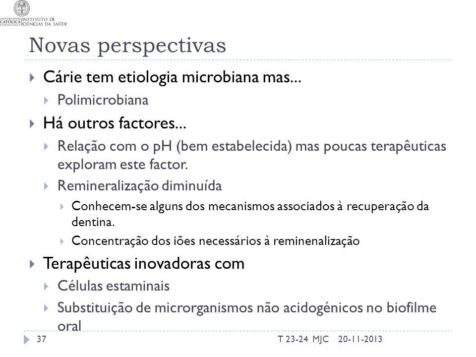 Novas perspectivas Cárie tem etiologia microbiana mas... Polimicrobiana Há outros factores... Relação com o pH (bem estabelecida) mas poucas terapêuti