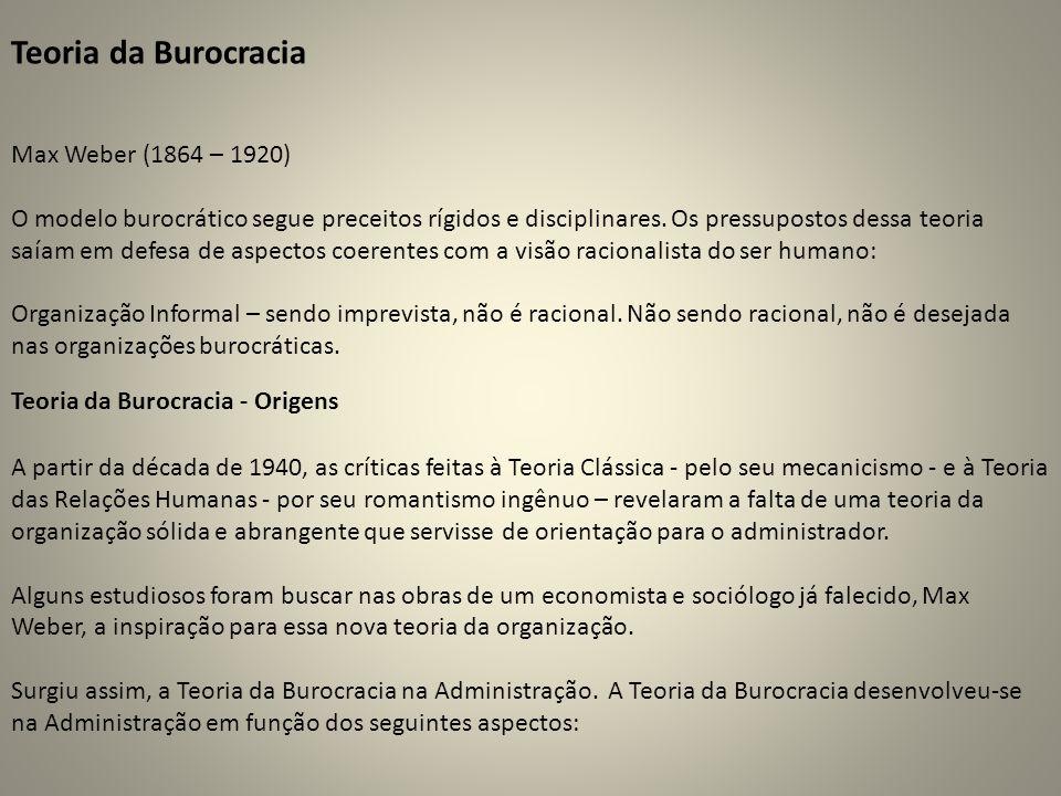 Teoria da Burocracia Max Weber (1864 – 1920) O modelo burocrático segue preceitos rígidos e disciplinares. Os pressupostos dessa teoria saíam em defes
