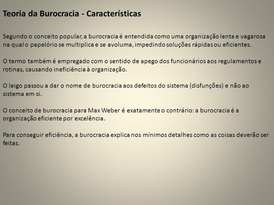 Teoria da Burocracia - Características Segundo o conceito popular, a burocracia é entendida como uma organização lenta e vagarosa na qual o papelório se multiplica e se avoluma, impedindo soluções rápidas ou eficientes.