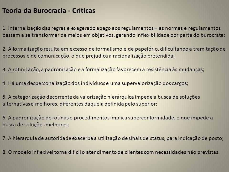 Teoria da Burocracia - Críticas 1. Internalização das regras e exagerado apego aos regulamentos – as normas e regulamentos passam a se transformar de