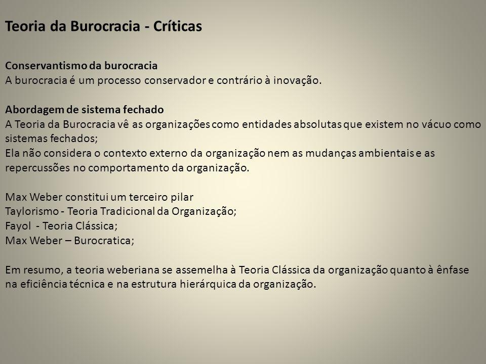 Conservantismo da burocracia A burocracia é um processo conservador e contrário à inovação. Abordagem de sistema fechado A Teoria da Burocracia vê as