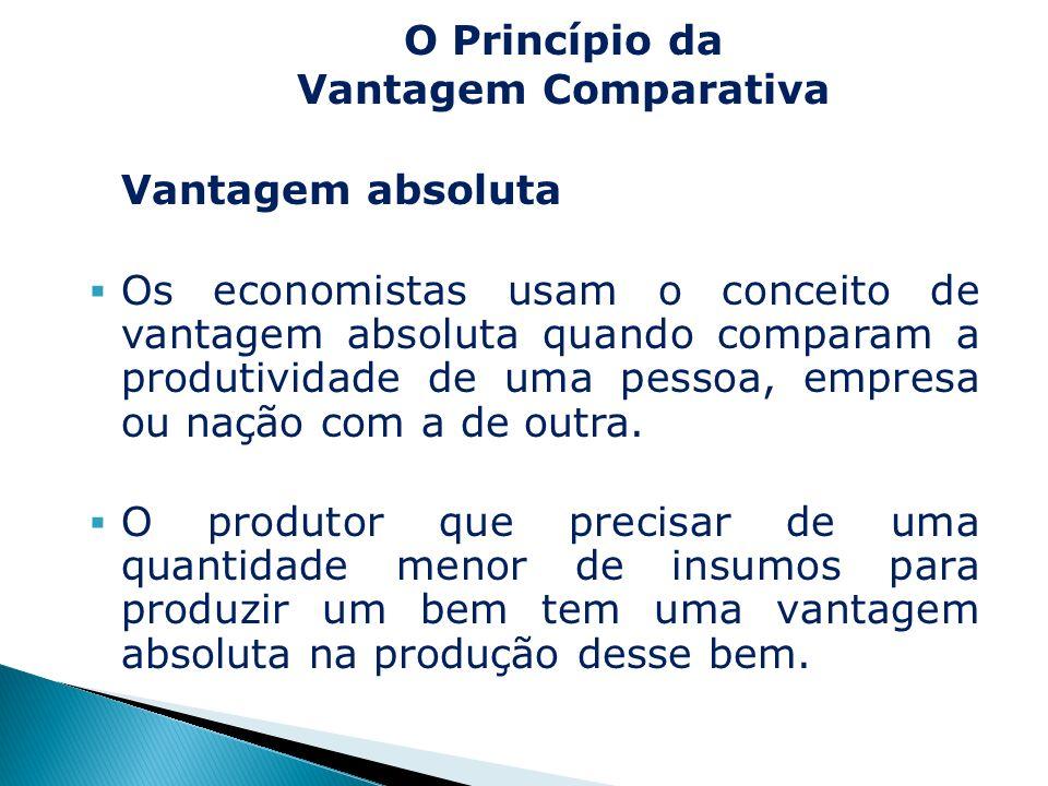 Vantagem absoluta Os economistas usam o conceito de vantagem absoluta quando comparam a produtividade de uma pessoa, empresa ou nação com a de outra.