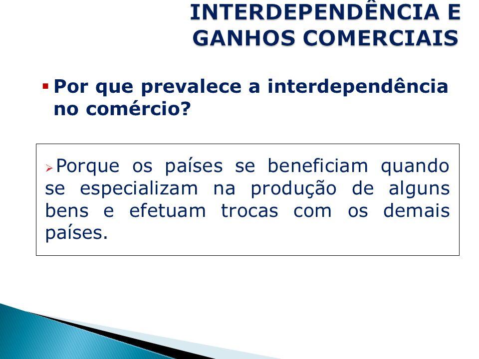Por que prevalece a interdependência no comércio? Porque os países se beneficiam quando se especializam na produção de alguns bens e efetuam trocas co
