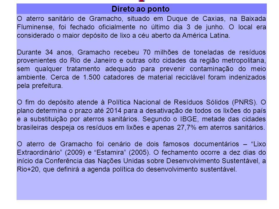 Direto ao ponto O aterro sanitário de Gramacho, situado em Duque de Caxias, na Baixada Fluminense, foi fechado oficialmente no último dia 3 de junho.