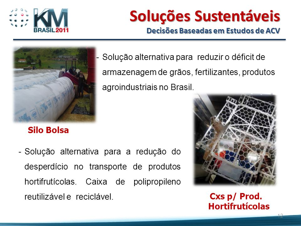 12 Soluções Sustentáveis Decisões Baseadas em Estudos de ACV Silo Bolsa -Solução alternativa para reduzir o déficit de armazenagem de grãos, fertilizantes, produtos agroindustriais no Brasil.