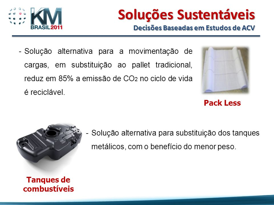 Soluções Sustentáveis Decisões Baseadas em Estudos de ACV Pack Less -Solução alternativa para a movimentação de cargas, em substituição ao pallet tradicional, reduz em 85% a emissão de CO 2 no ciclo de vida é reciclável.