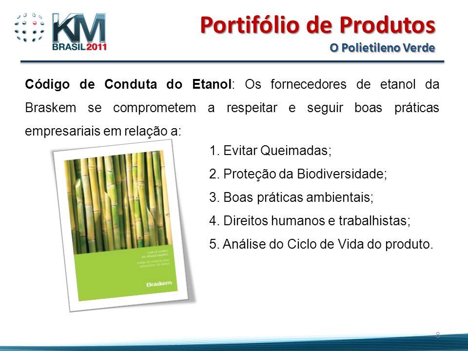 Portifólio de Produtos O Polietileno Verde 8 Código de Conduta do Etanol: Os fornecedores de etanol da Braskem se comprometem a respeitar e seguir boas práticas empresariais em relação a: 1.
