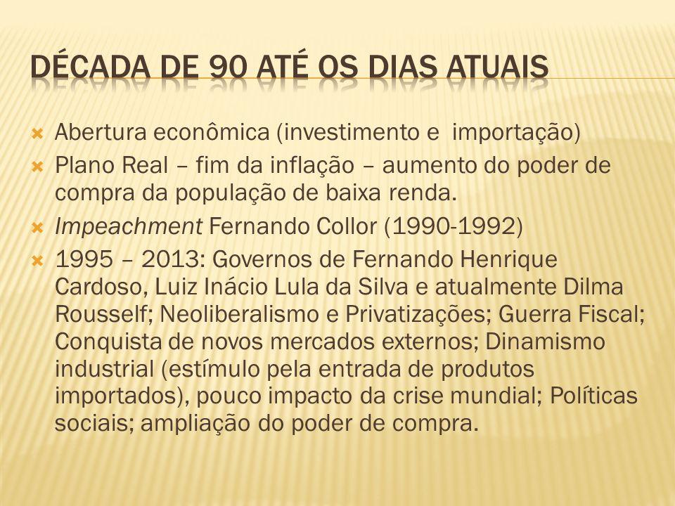 Abertura econômica (investimento e importação) Plano Real – fim da inflação – aumento do poder de compra da população de baixa renda. Impeachment Fern