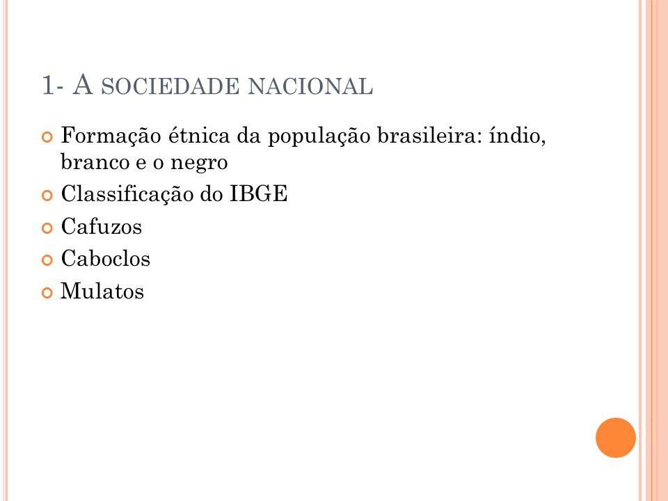 1- A SOCIEDADE NACIONAL Formação étnica da população brasileira: índio, branco e o negro Classificação do IBGE Cafuzos Caboclos Mulatos