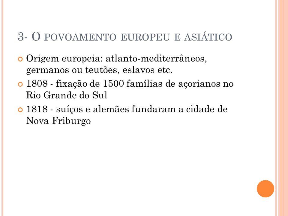 3- O POVOAMENTO EUROPEU E ASIÁTICO Origem europeia: atlanto-mediterrâneos, germanos ou teutões, eslavos etc. 1808 - fixação de 1500 famílias de açoria