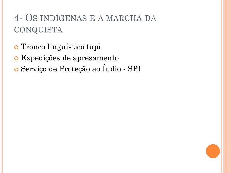 4.1- R UMOS RECENTES DA POLÍTICA INDIGENISTA Em 1967, foi extinto o SPI e foi criada a Funai (Fundação Nacional do Índio) Em 1973, foi sancionado o Estatuto do Índio O direito dos indígenas ao seu território Última demarcação – Raposa-Serra do Sol Invasores: madeireiros, garimpeiros, fazendeiros e posseiros.