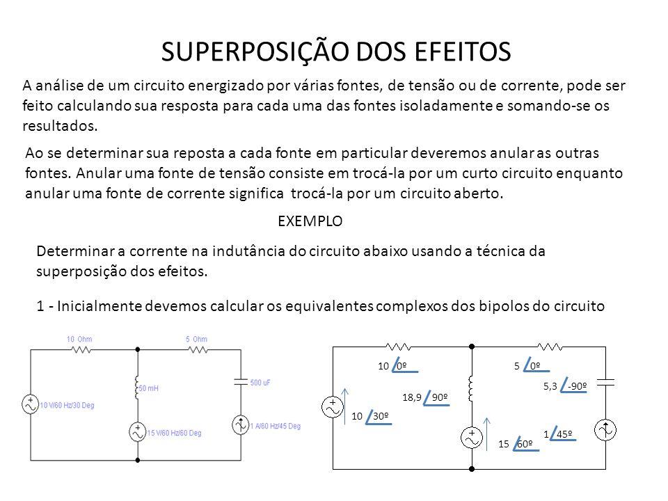 SUPERPOSIÇÃO DOS EFEITOS A análise de um circuito energizado por várias fontes, de tensão ou de corrente, pode ser feito calculando sua resposta para