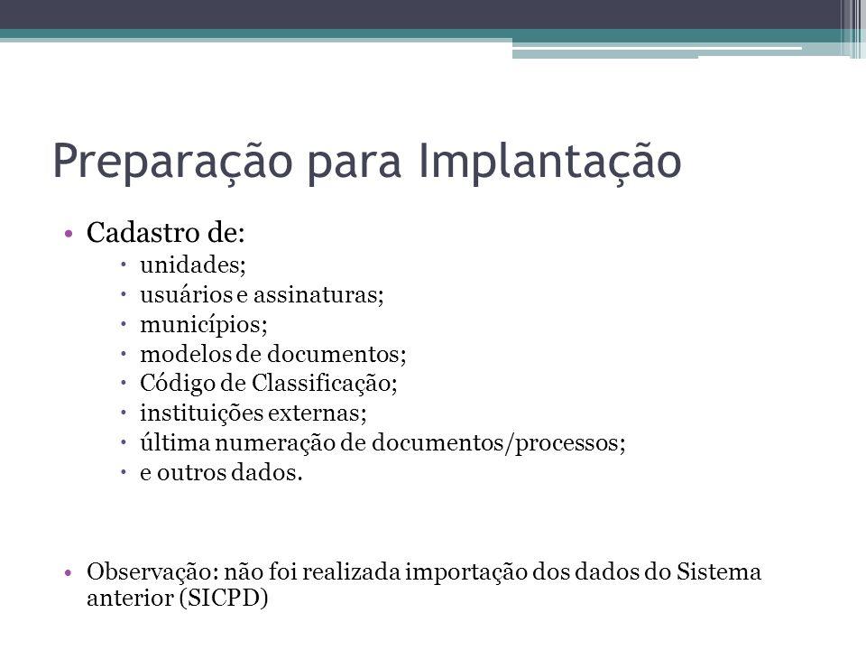 Preparação para Implantação Cadastro de: unidades; usuários e assinaturas; municípios; modelos de documentos; Código de Classificação; instituições ex