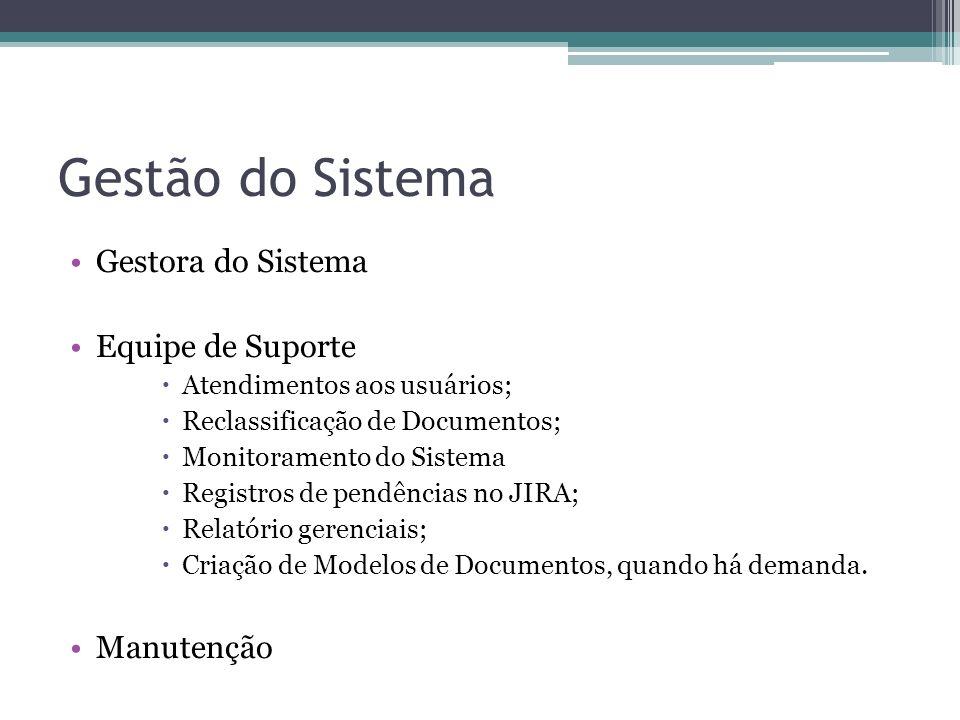 Gestão do Sistema Gestora do Sistema Equipe de Suporte Atendimentos aos usuários; Reclassificação de Documentos; Monitoramento do Sistema Registros de