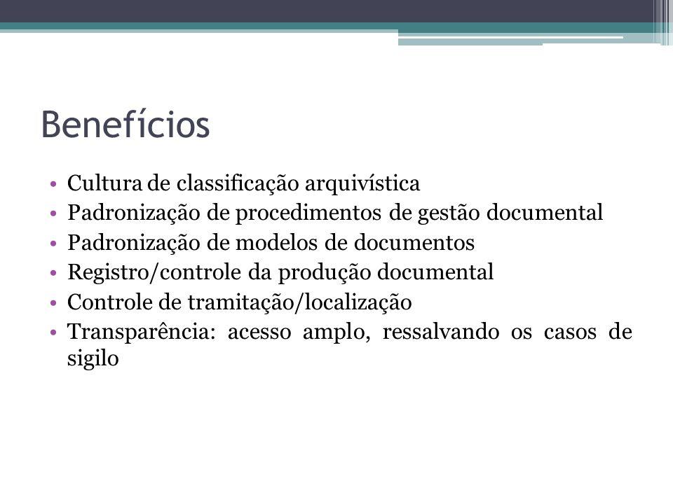 Benefícios Cultura de classificação arquivística Padronização de procedimentos de gestão documental Padronização de modelos de documentos Registro/con