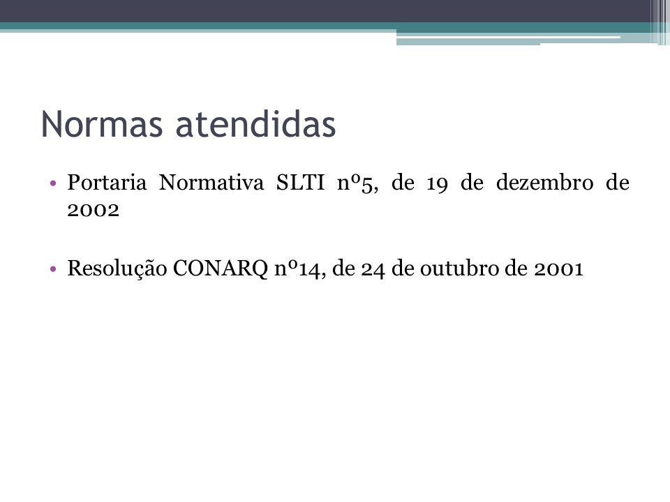 Normas atendidas Portaria Normativa SLTI nº5, de 19 de dezembro de 2002 Resolução CONARQ nº14, de 24 de outubro de 2001