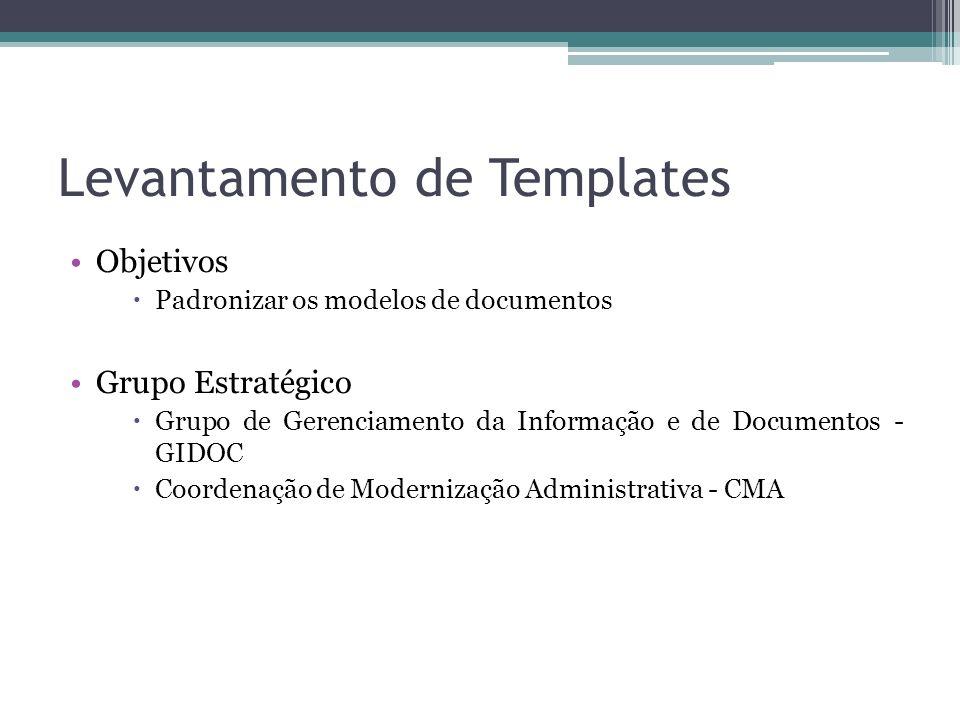 Levantamento de Templates Objetivos Padronizar os modelos de documentos Grupo Estratégico Grupo de Gerenciamento da Informação e de Documentos - GIDOC