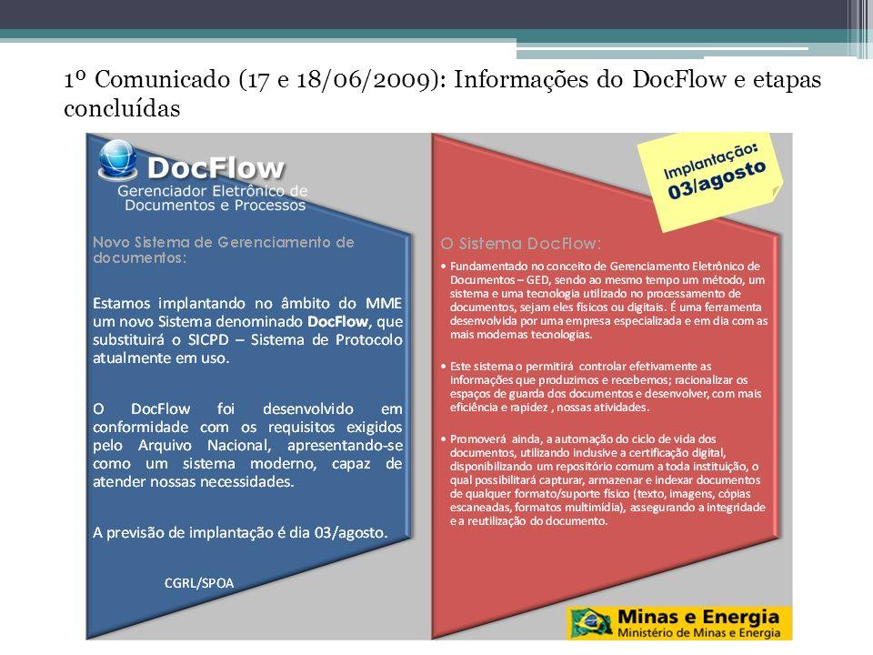 2º Comunicado (26 e 29/06/2009): Informou as ações já realizadas para implantação do DocFlow e próximas ações
