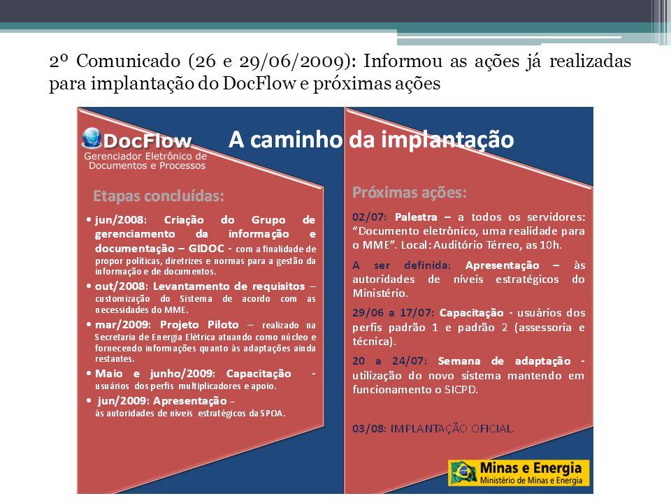 3º Comunicado (30/06 e 01/07/2009): Convocação e Memorando SPOA/SE convidando Secretários para a palestra de sensibilização