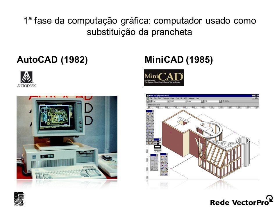 1ª fase da computação gráfica: computador usado como substituição da prancheta AutoCAD (1982) MiniCAD (1985)