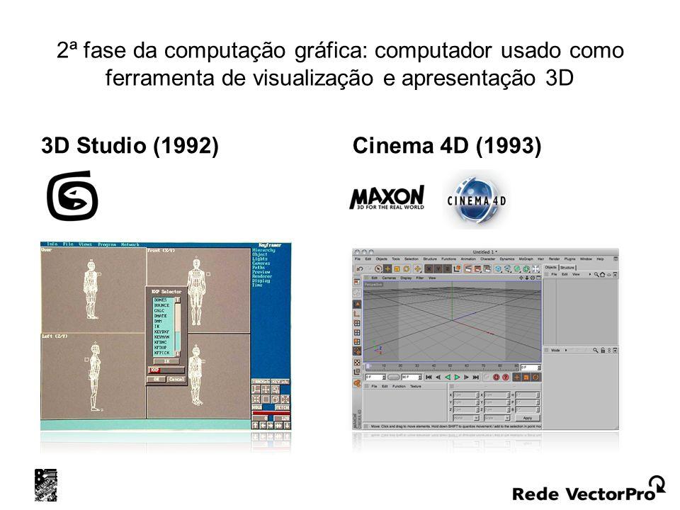 2ª fase da computação gráfica: computador usado como ferramenta de visualização e apresentação 3D 3D Studio (1992) Cinema 4D (1993)