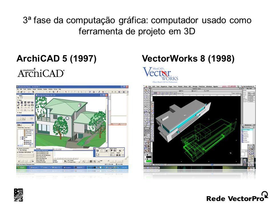3ª fase da computação gráfica: computador usado como ferramenta de projeto em 3D ArchiCAD 5 (1997) VectorWorks 8 (1998)