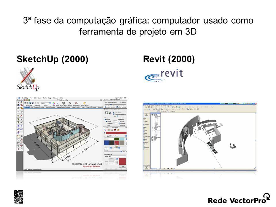 3ª fase da computação gráfica: computador usado como ferramenta de projeto em 3D SketchUp (2000) Revit (2000)