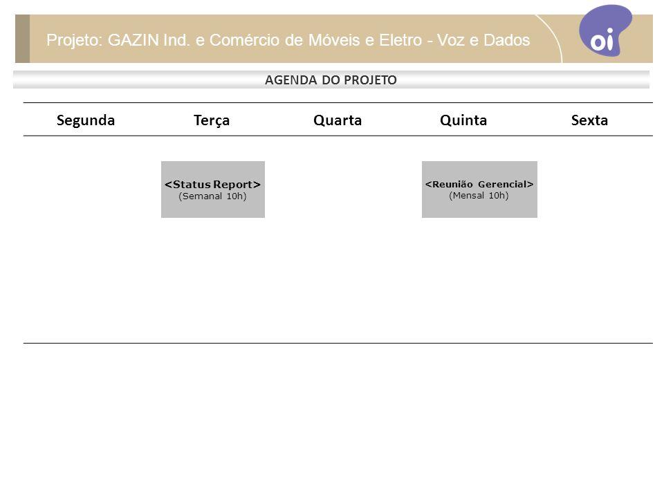 SegundaTerçaQuartaQuintaSexta AGENDA DO PROJETO Projeto: GAZIN Ind.