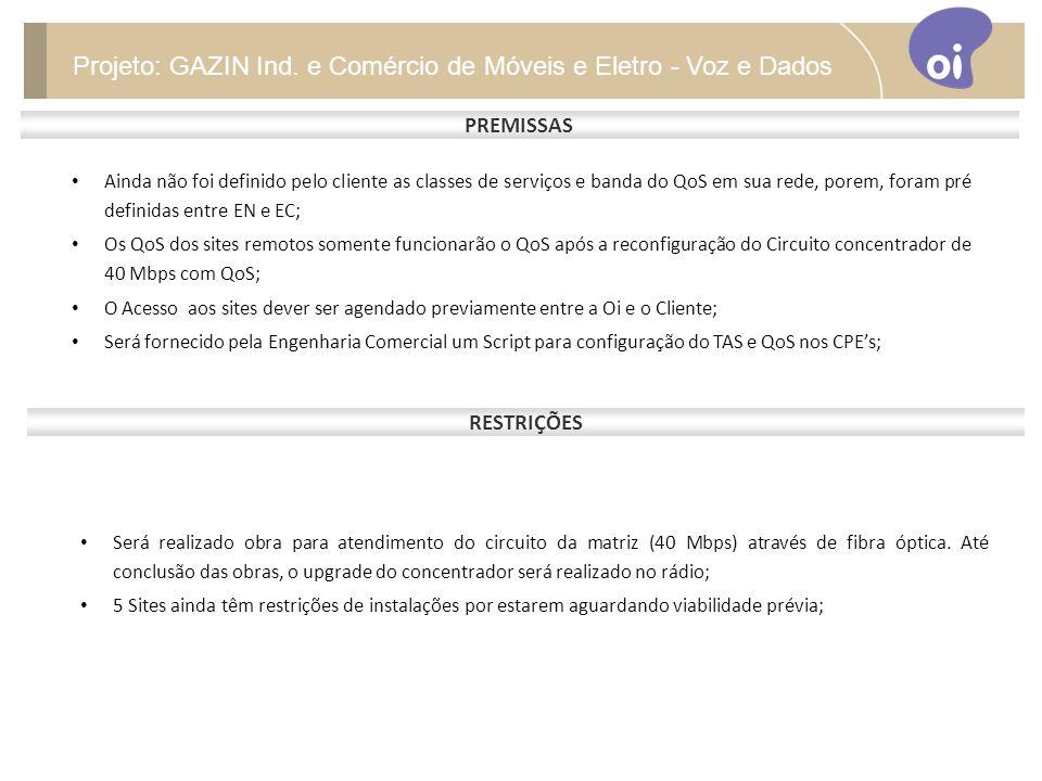 PREMISSAS Projeto: GAZIN Ind.