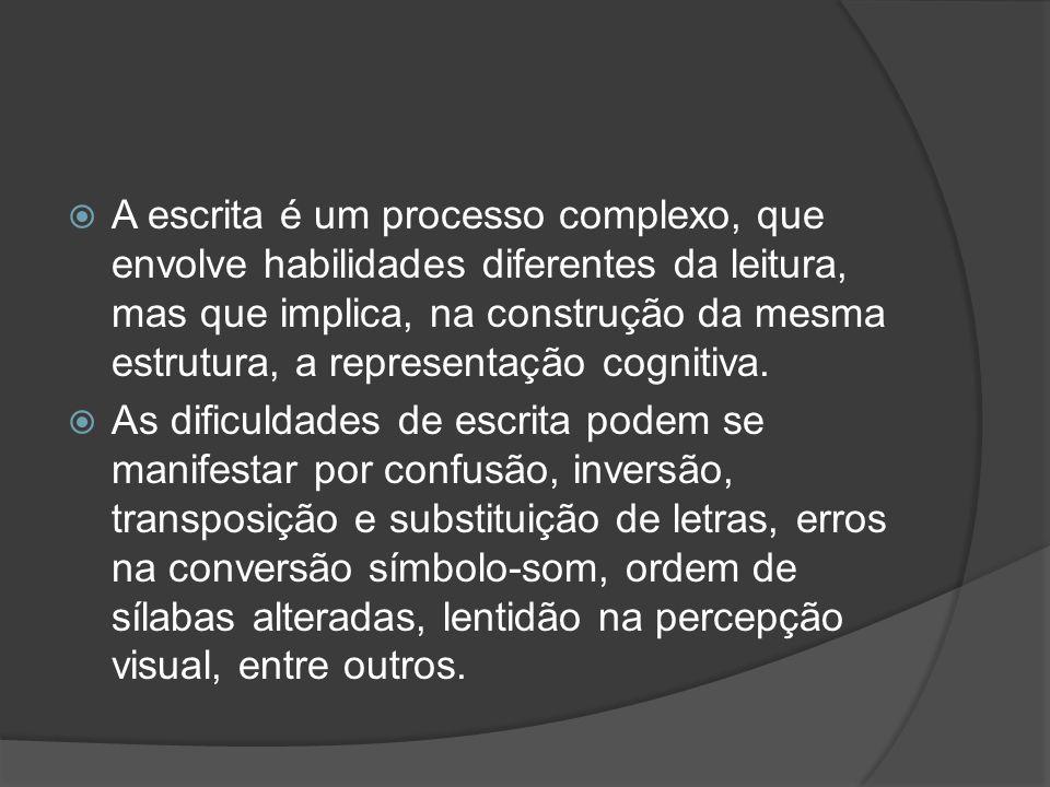 A escrita é um processo complexo, que envolve habilidades diferentes da leitura, mas que implica, na construção da mesma estrutura, a representação co