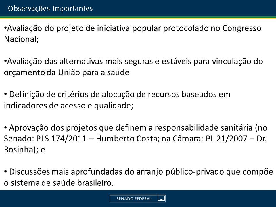 Avaliação do projeto de iniciativa popular protocolado no Congresso Nacional; Avaliação das alternativas mais seguras e estáveis para vinculação do or