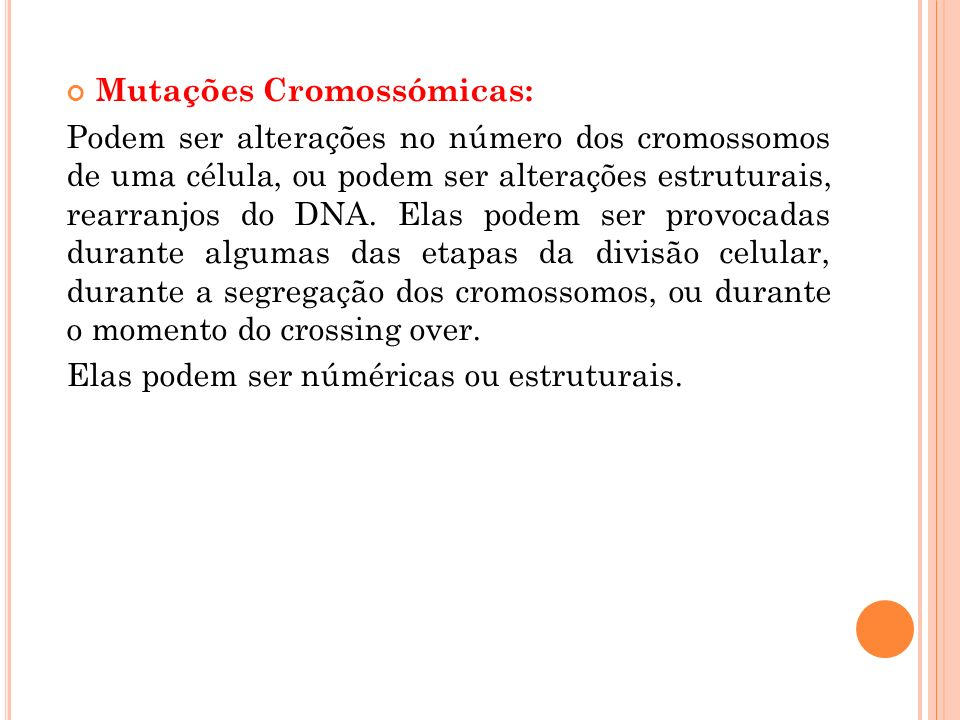 Mutações Cromossómicas: Podem ser alterações no número dos cromossomos de uma célula, ou podem ser alterações estruturais, rearranjos do DNA.