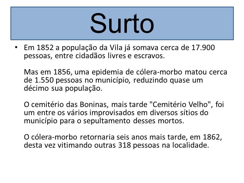 Surto Em 1852 a população da Vila já somava cerca de 17.900 pessoas, entre cidadãos livres e escravos. Mas em 1856, uma epidemia de cólera-morbo matou