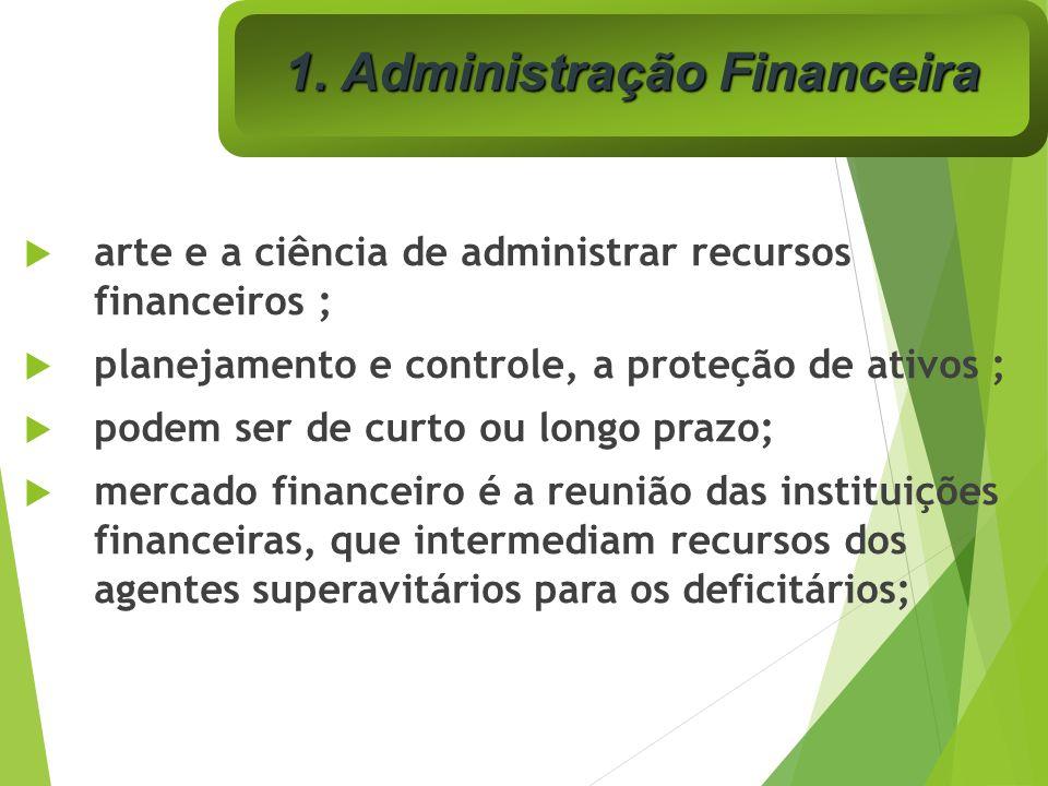 arte e a ciência de administrar recursos financeiros ; planejamento e controle, a proteção de ativos ; podem ser de curto ou longo prazo; mercado fina